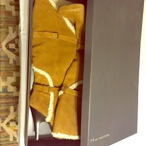 H by Halston tan suede over the knee heel boots
